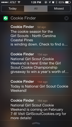 Girl Scout Cookie Mobile App Screenshot