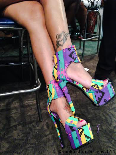 Tribal Purple Canvas Heels Out & About