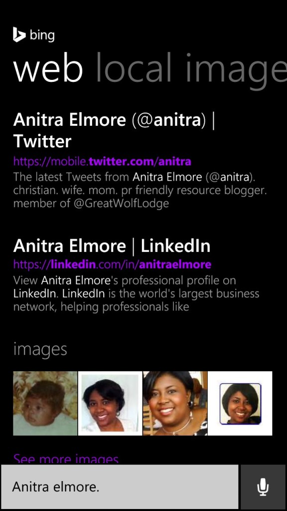 Cortana finds Anitra Elmore