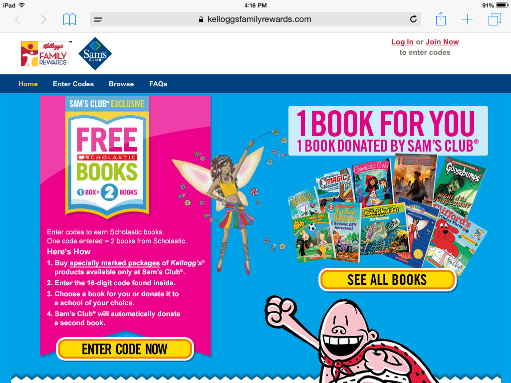 Free book codes for kelloggs
