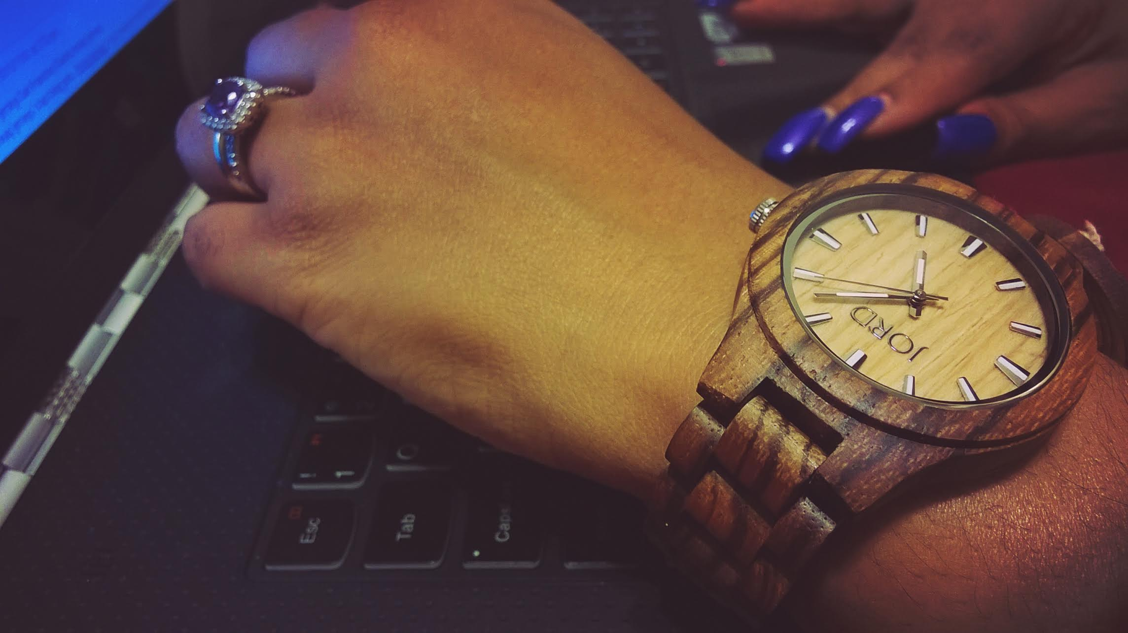 Jen on Lenovo YOGA with JORD Zebrawood and Maple Watch